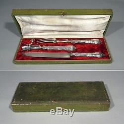 Antique French Rococo Sterling Silver Carving Set and Gigot Holder, Page Frères