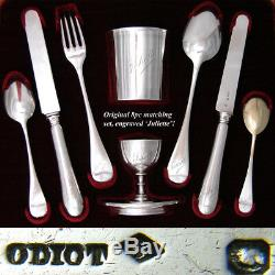 Antique ODIOT Hallmarked Sterling Silver 8pc Breakfast Set, Original Fitted Box