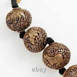 Antique Vintage Art Deco Sterling Silver Chinese Shou Bead HUGE Carved Necklace