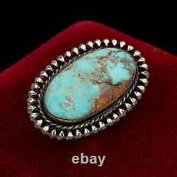 Antique Vintage Sterling Silver Native Navajo Royston Turquoise Pin Brooch 5.8g