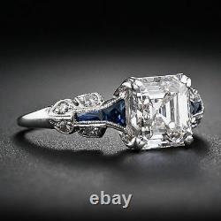 Art Deco Vintage Antique White Asscher Cut Engagement Ring 925 Sterling Silver