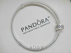 Authentic Pandora Sterling Silver Bracelet With Pink Heart European Charms Beads