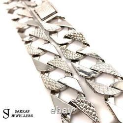 BOMBE 925 SOLID Sterling Silver HEAVY Diamond Cut BRACELET 9 16mm NEW