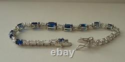 BRACELET TENNIS With 16 CT DIAMONDS & TANZANITE/ 925 STERLING SILVER / 7'' LONG