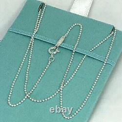 BRAND NEW Tiffany & Co 18 Sterling Silver Beaded Chain Pendant Necklace