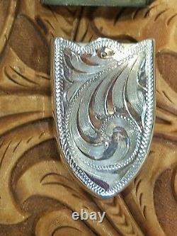 BUCKLE SET HAND ENGRAVED SALE $$One Inch. 925 Sterling Silver Overlay4 pieces
