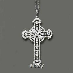 Belle Époque Round Diamond Cross Pendent Charm In 925 Sterling Silver