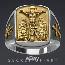 Bishop Ring Jesus Mary John Ring Silver 925 Sterling with 24k-Gold-Plated Parts