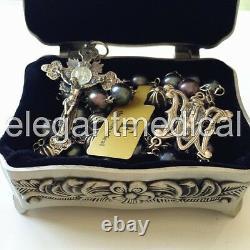 Black Tahitian Pearl Bali Sterling Silver Cross Beads Rosary box necklace Cross