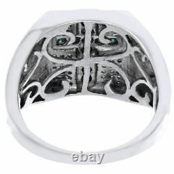 Blue Diamond Cross Statement Wedding Band 925 Sterling Silver Pinky Ring 2.50 Ct