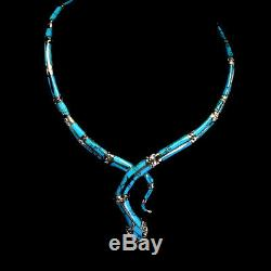 Blue Turquoise 29x5mm Ruby Marcasite 925 Sterling Silver Cobra Necklace 17.5inch