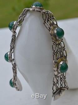 Bracelet With Green Agates Vintage Georg Jensen #31 Sterling Silver Length 7,1