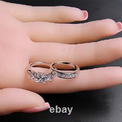 Bridal Rings Princess Cut 925 Sterling Silver Wedding Women Ring Set Size 5-10