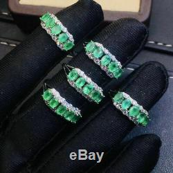 Certified Genuine Natural Colombian Emerald Ring S925 Sterling Silver Gift