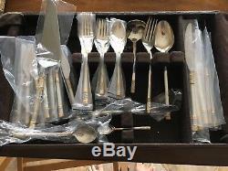 Clean 48 Pc Set Wallace Aegean Weave Gold Golden Agean Sterling Silver Flatware