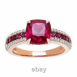 Created Ruby Ring with Cubic Zirconias in 14K Rose Gold-Plated Sterling Silver
