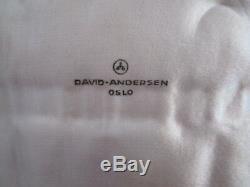 DAVID ANDERSEN Sterling Silver Norway Enamel Set/8 Demitasse Spoon Box