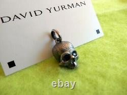 DAVID YURMAN Sterling Silver 18mm Carved Skull Pendant withBlack Diamond Eyes