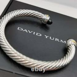 David Yurman 7mm 14k Gold Black Onyx Sterling Silver Cable Bangle Bracelet New
