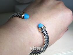 David Yurman 7mm Turquoise 14k Yellow Gold & Sterling Silver Cuff Bracelet