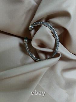David Yurman Cable Bracelet 5mm Sterling Silver with Black Onyx Cuff Bangle M