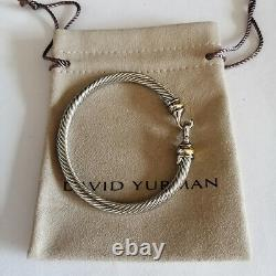 David Yurman Cable Buckle Bracelet Bangle 5mm Sterling Silver with 18k Gold M