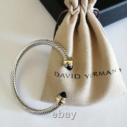 David Yurman Classic Cable Bracelet 5mm Sterling Silver Black Onyx Cuff Bangle M