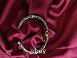 David Yurman Classic style Sterling Silver 18K gold Red agate 5mm Cable Bracelet