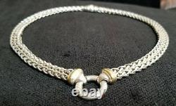 David Yurman Double 16 Wheat Chain Donut Sterling Silver Necklace 18K Gold 55gr