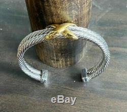 David Yurman Double Row 14K Gold 925 Sterling Silver 10mm Cable Cuff Bracelet