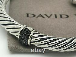 David Yurman Sterling Silver 7mm Pave Black Diamond Cable Cuff Bracelet