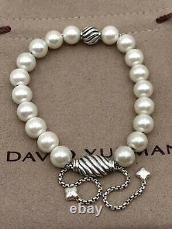 David Yurman Sterling Silver 8mm Freshwater Pearl Spiritual Beads Bracelet
