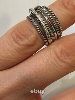David Yurman Sterling Silver 925 Crossover Wide Cable Pave Diamond Ring Size 6