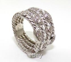 David Yurman Sterling Silver Diamond Confetti Band Ring Size 4.5 LJB4