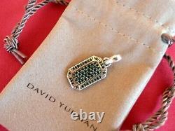 David Yurman Sterling Silver Streamline Pave Black Diamond Pendant Dog Tag $1200