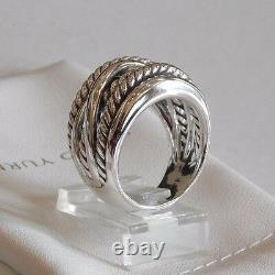 David Yurman Wide CrossOver Sterling Silver Cable Band Ring Size 6.5 w Pouch