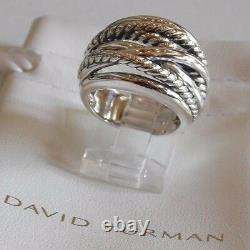 David Yurman Wide CrossOver Sterling Silver Cable Band Ring Size 7 with Pouch