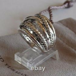David Yurman Wide CrossOver Sterling Silver Cable Band Ring Size 8 with Pouch