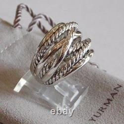 David Yurman Wide CrossOver Sterling Silver Cable Band Ring Size 9 with Pouch