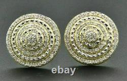 Diamond 3D Earrings Sterling Silver Yellow Finish Pave Circle Studs 1.00 Ct