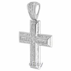 Diamond Cross Pendant Mens. 925 Sterling Silver Pave Religious Charm 2.10 Tcw