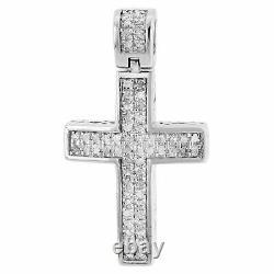 Diamond Cross Pendant Mini Jesus. 925 Sterling Silver Pave Charm 2.33 CT. 1.10