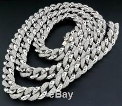 Diamond Miami Cuban Chain Mens. 925 Sterling Silver 11mm Necklace Link 8 CT