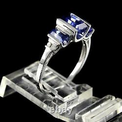 Estate 1.50 Ct Baguette Sapphire Ring 18K White Gold Over Sterling Silver 925