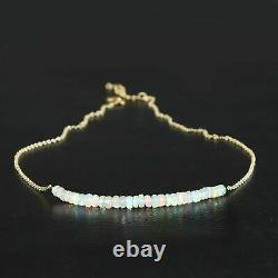 Ethiopian Opal Bar Necklace 925 Sterling Silver Handmade Natural Beaded Women