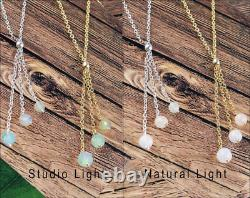 Ethiopian Opal Lariat Necklace 925 Sterling Silver Natural Handmade Women Gift