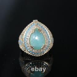 Exceptional High-class Aquamarine Inlaid Hand-Crafted Set 925 Sterling Silver