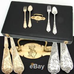 Exquisite Antique French PUIFORCAT Sterling Silver & Vermeil 48pc Flatware Set