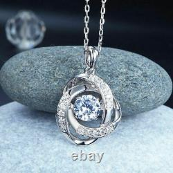 Flower Shape Pendant With 18 Chain 925 Sterling Silver 1.75Ct Round Cut Diamond
