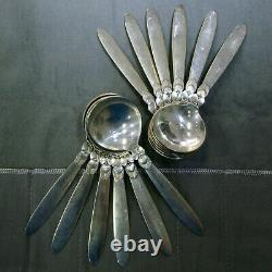 Georg Jensen Cactus Sterling Silver 104pc Silverware Flatware with Serving Pieces